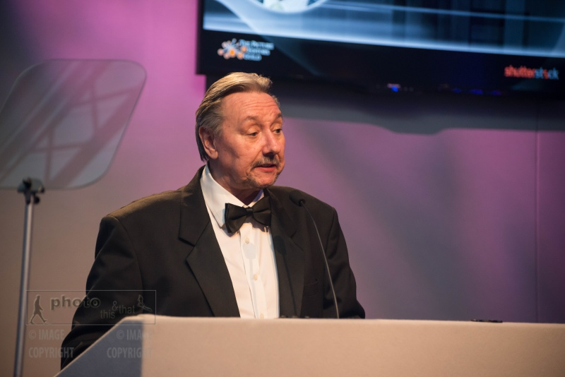 Alan Sparrow, Chairman of the UK Picture Editors' Guild Awards, Honourable Artillery Company, City Road, London. February 25, 2016. Photo: Ben Fitzpatrick