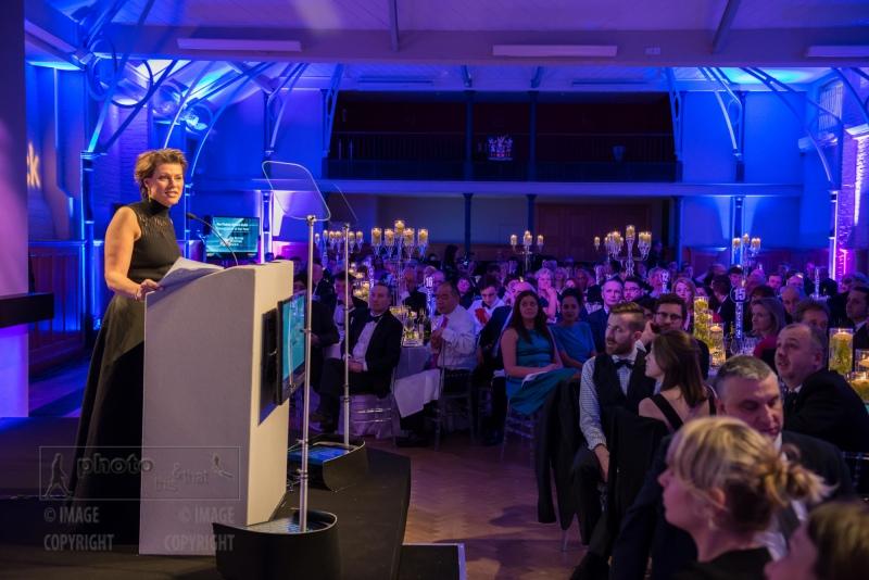 Journalist and TV presenter Kate Silverton prsents the awards. UK Picture Editors' Guild Awards, Honourable Artillery Company, City Road, London. February 25, 2016. Photo: Ben Fitzpatrick