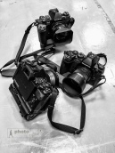 My Olympus cameras which were used to photograph Britten's Albert Herring at the Royal College of Music, Prince Consort Road, London. May 18, 2015. Photo: Edmond Terakopian