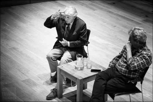 Photojournalist Don McCullin in conversation with foreign correspondent Fergal Keane. Kings Place, 90 York Way, London, UK. 24 April 2019. Photo: Edmond Terakopian